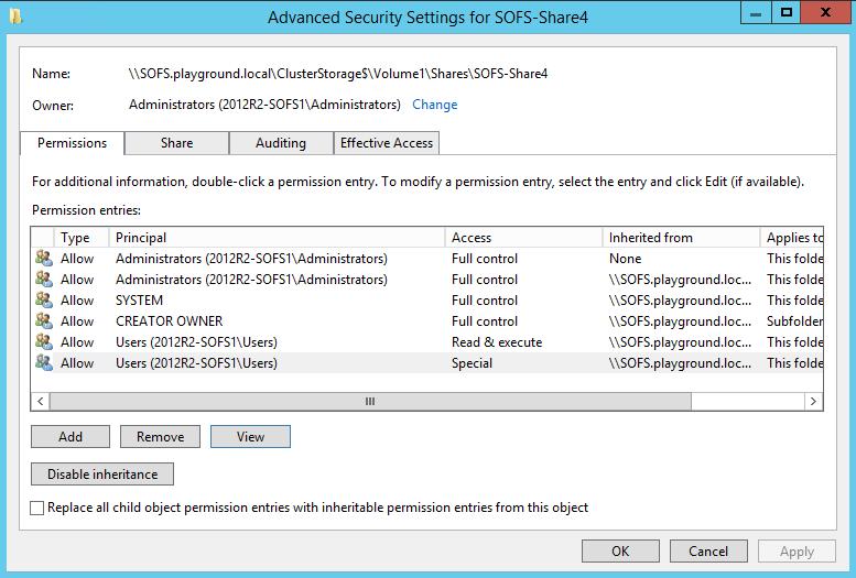 NTFS Permission Tab Hyper-V