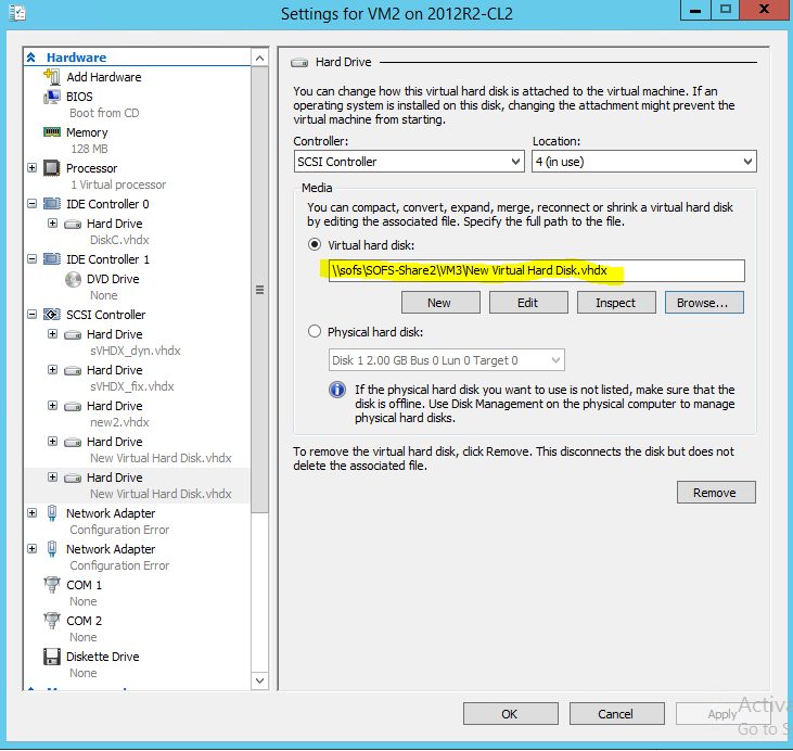 Hyper-V vm settings virtual hard disk