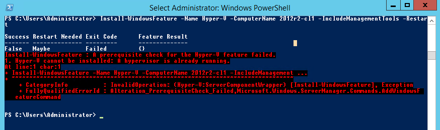 Powershell install-windowsfeature hyper-v