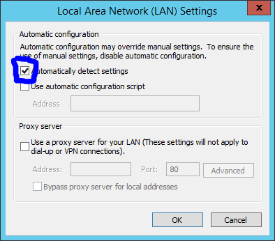 internet explorer ie lan settings connections proxy automatically detect settings configuration script