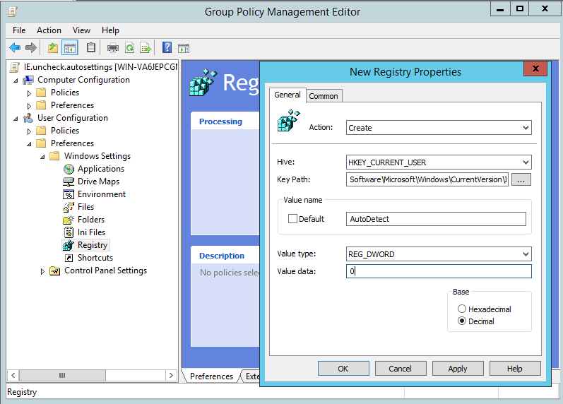 Group Policy Management editor gpp registry properties