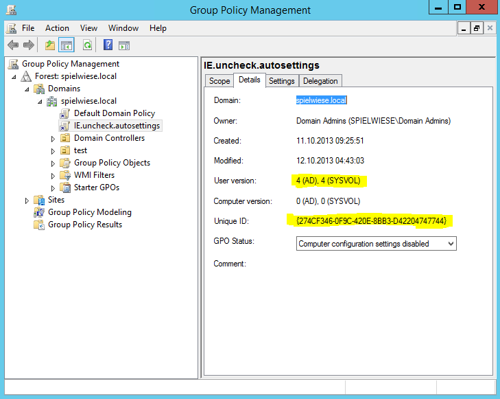 group policy management console user version unique id
