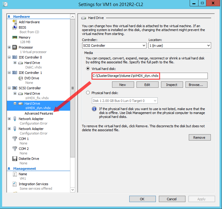 Hyper-V hard drive advanced settings