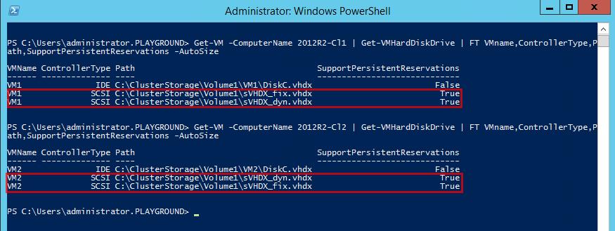 Get-VM -ComputerName 2012R2-Cl1 | Get-VMHardDiskDrive | FT VMname,ControllerType,Path,SupportPersistentReservations -AutoSize hard disk sharing