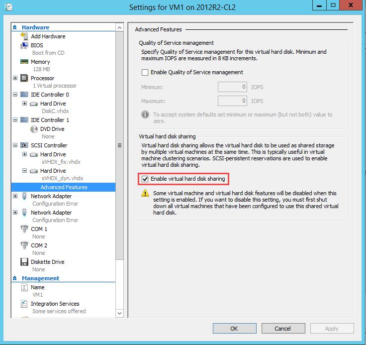 Hyper-V hard drive advanced settings enable virtual hard disk sharing