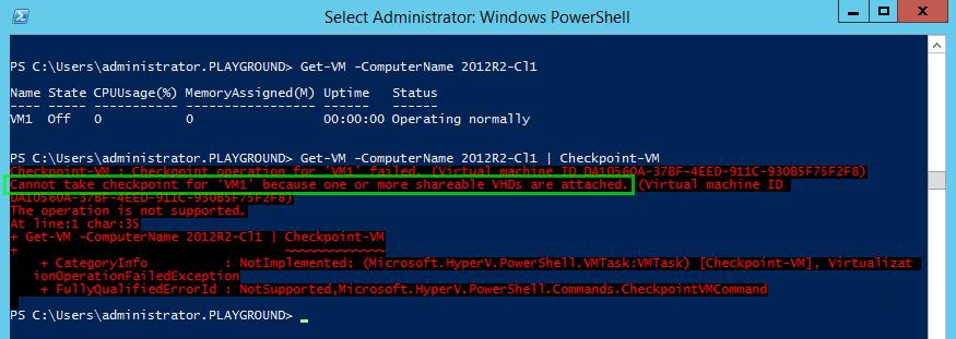 Get-VM -ComputerName 2012R2-Cl1 | Checkpoint-VM hard disk sharing