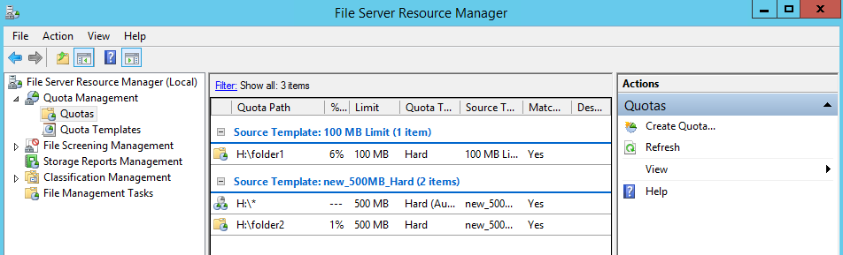 File Server Resource Manager FSRM Quota