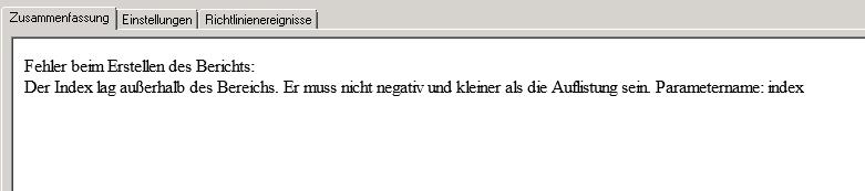 """Fehler """"Der Index war außerhalb des gültigen Bereichs"""" bzw. """"Index was out of range"""""""