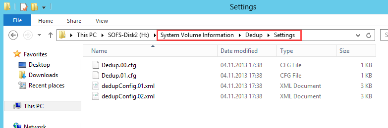 system volume information dedup settings data deduplication