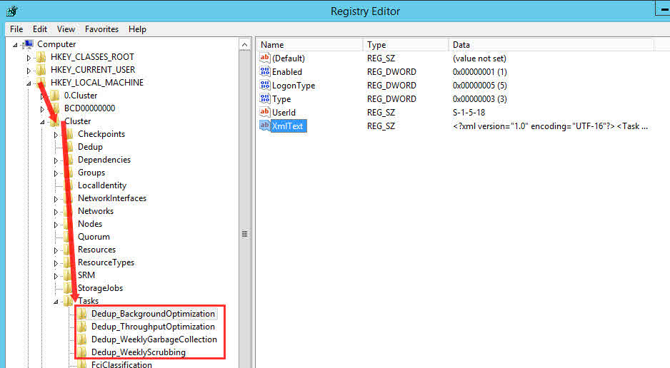 data deduplication failover cluster registry