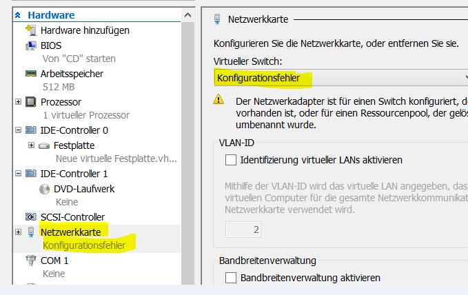 Hyper-V Netzwerkkarte Konfigurationsfehler