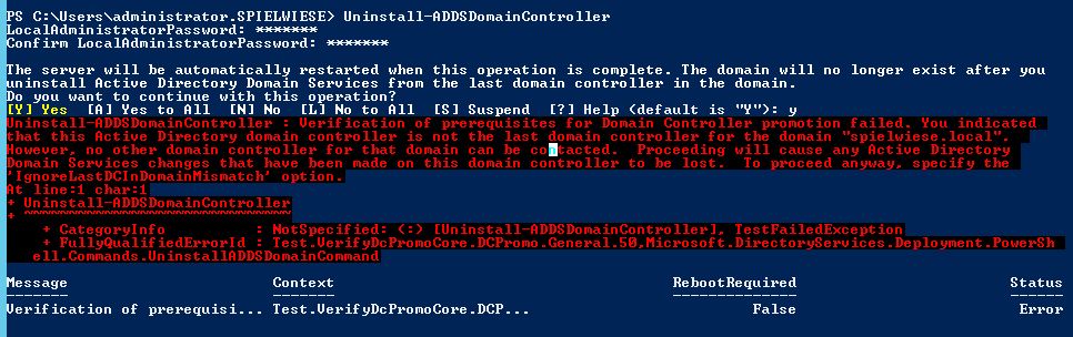 Uninstall-ADDSDomainController