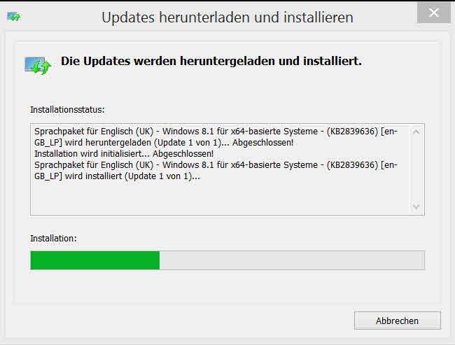 updates herunterladen und installieren