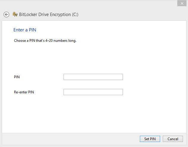 Windows Bitlocker TPM PIN