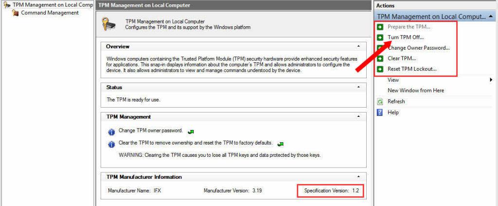 tpm.msc tpm 1.2 specification windows 8.1 x64