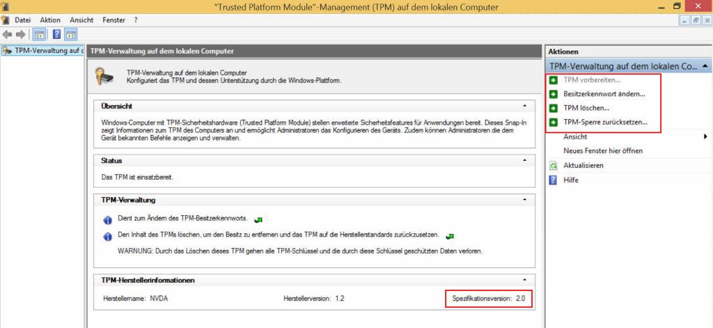 tpm 2.0 specification tpm.msc windows 8.1 rt