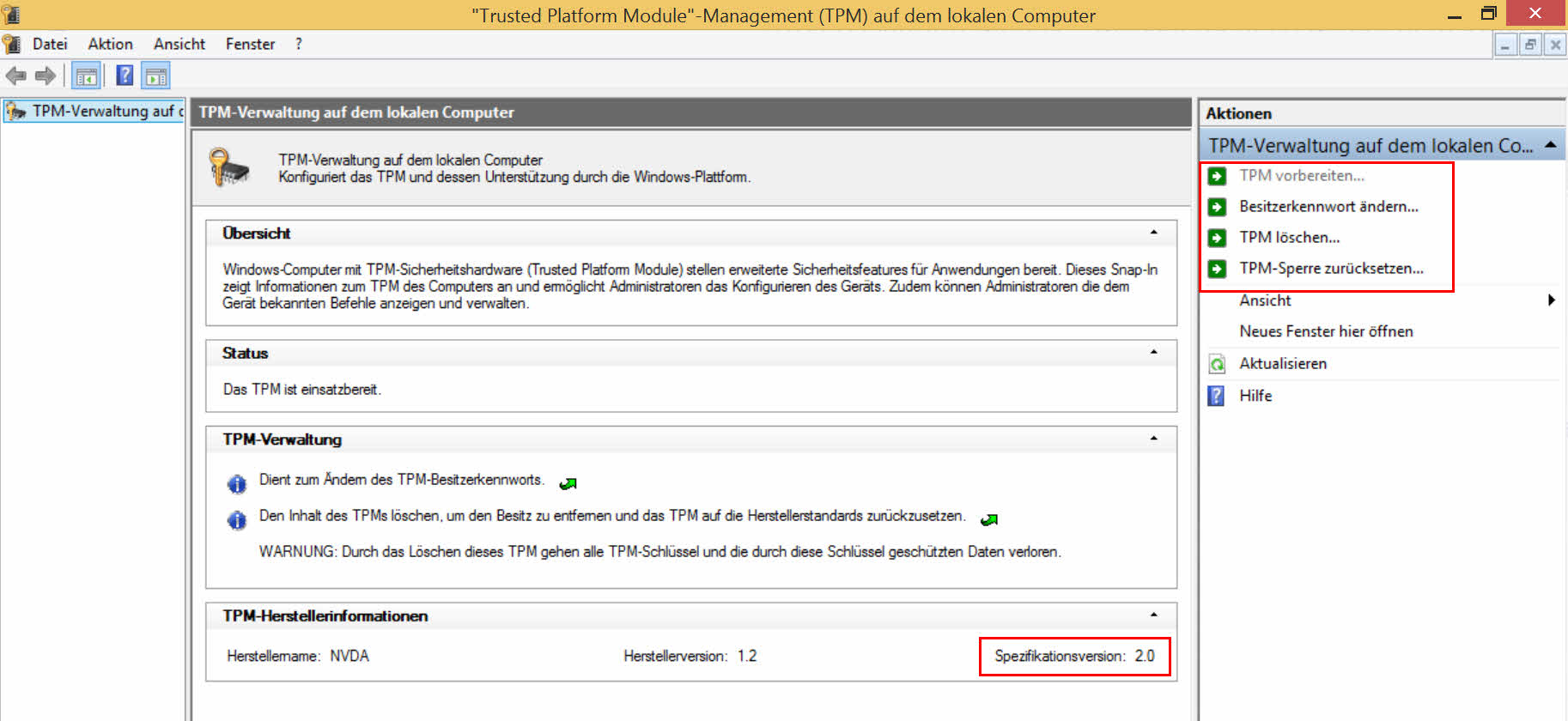 tpm 2.0 specification tpm.msc windows 8.1 rt