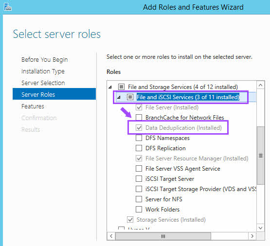 Server Roles File and iSCSI Services Data Deduplication install