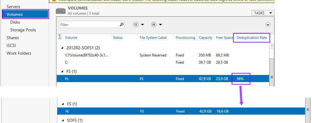 Server Manager Volumes Data Deduplication