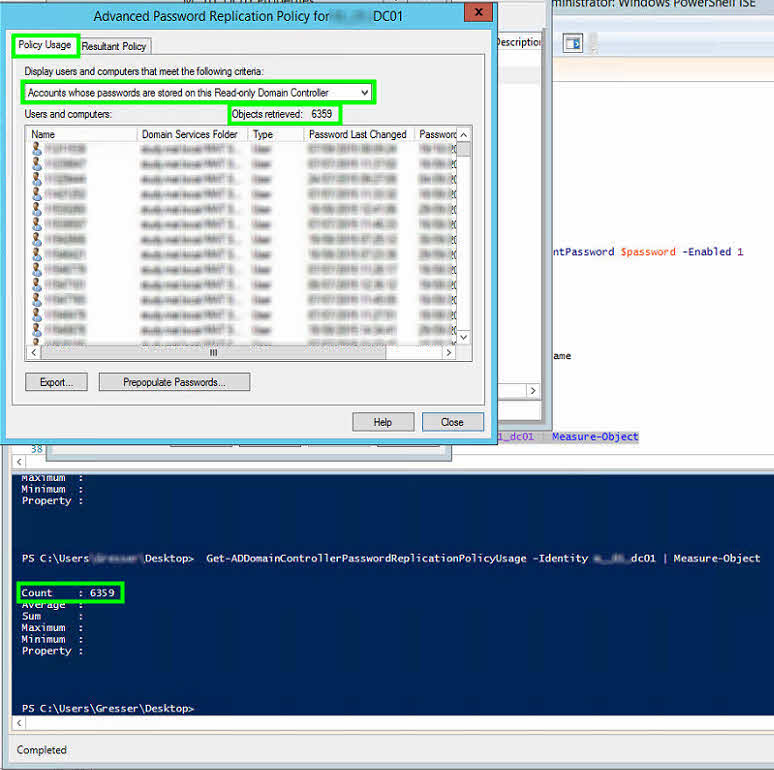 policy usage reas-only domain controller rodc get-addomaincontrollerpasswordreplicationpolicyusage prepopulate passwords