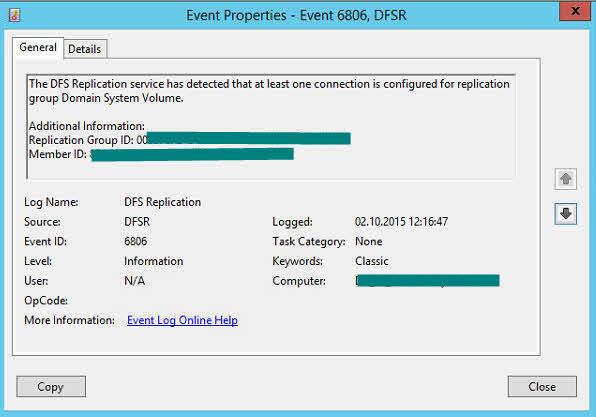 Event ID 6806 DFSR