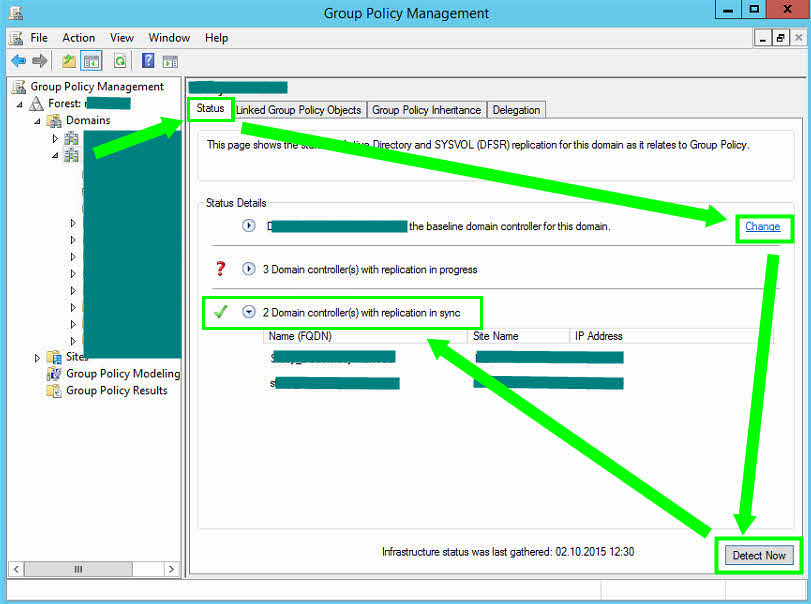 Group Policy Management Console Status Sysvol GPMC