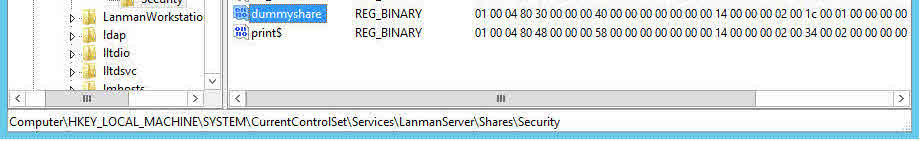 [HKEY_LOCAL_MACHINE\SYSTEM\CurrentControlSet\Services\lanmanserver\Shares\Security]