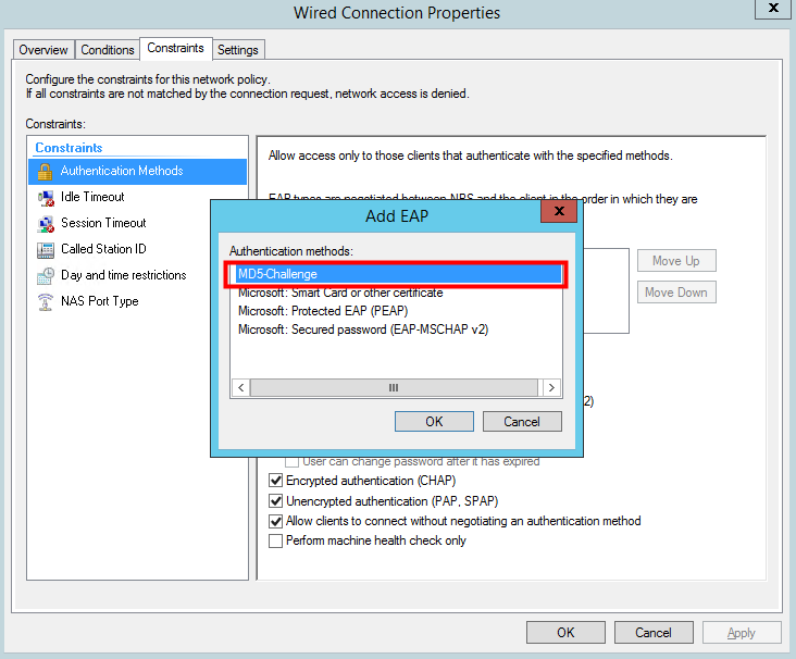 Microsoft NPS authentication eap md5 eap-md5
