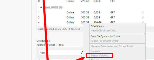 Server Manager Cluster Shared Volume CSV extend erweitern