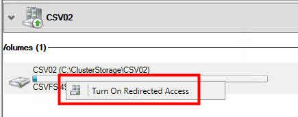 Server 2012 2012r2 CSV redirected access