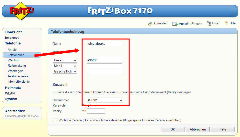 FritzBox 7170 telnet #96*8* #96*7*