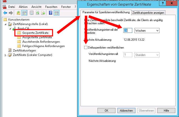 Root-CA Gesperrte Zertifikate Sperrliste Deltasperrliste veröffentlichen parameter sperrlistenveröffentlichung